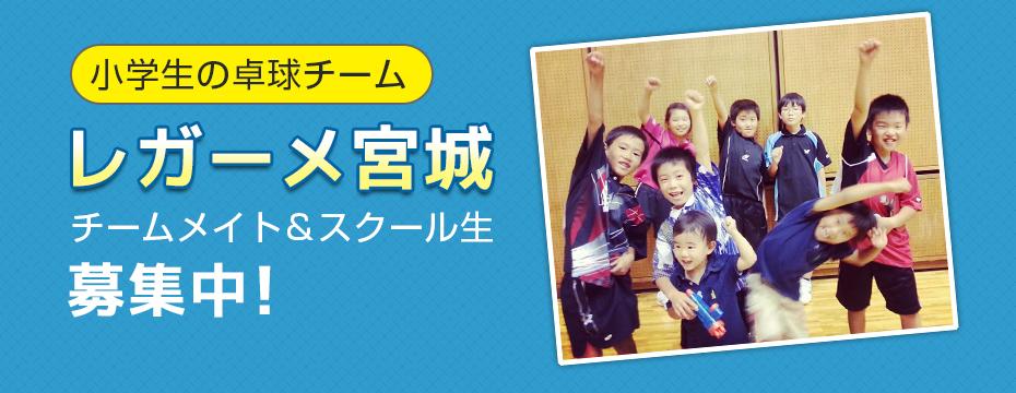 小学生の卓球チーム「レガーメ宮城」チームメイト&スクール生募集